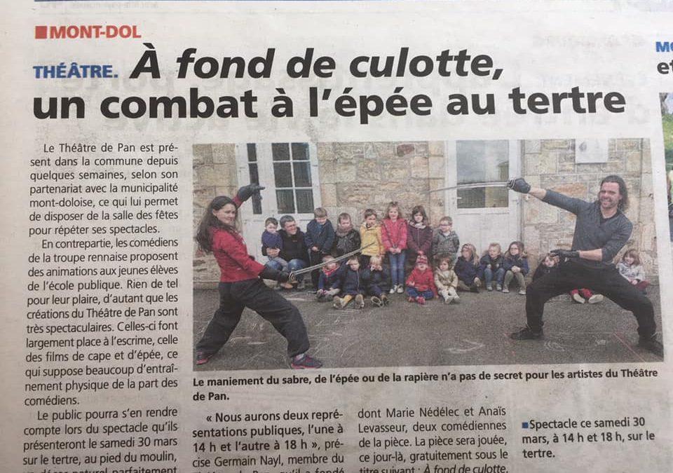 Résidence à Mont-Dol, Le Théâtre de Pan rencontre les enfants de L'école.